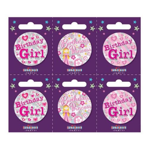 Birthday Girl Small Badges (6 assorted per perforated card) (5.5cm)